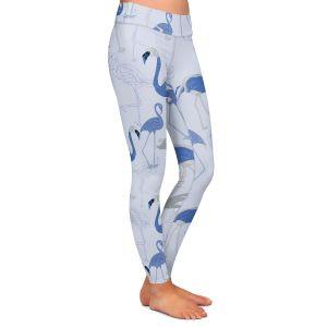 Casual Comfortable Leggings | Yasmin Dadabhoy - Flamingo 4 Blue | bird nature repetition pattern