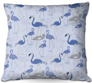 Throw Pillows Decorative Artistic | Yasmin Dadabhoy - Flamingo 4 Blue | bird nature repetition pattern