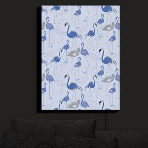 Nightlight Sconce Canvas Light | Yasmin Dadabhoy - Flamingo 4 Blue | bird nature repetition pattern