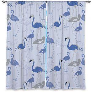 Decorative Window Treatments | Yasmin Dadabhoy - Flamingo 4 Blue | bird nature repetition pattern