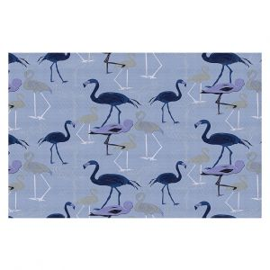 Decorative Floor Covering Mats | Yasmin Dadabhoy - Flamingo 4 Dark Blue | bird nature repetition pattern
