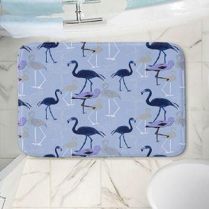 Decorative Bathroom Mats | Yasmin Dadabhoy - Flamingo 4 Dark Blue | bird nature repetition pattern