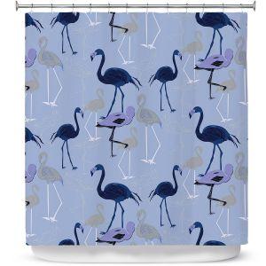 Premium Shower Curtains | Yasmin Dadabhoy - Flamingo 4 Dark Blue | bird nature repetition pattern