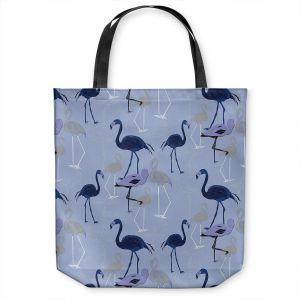 Unique Shoulder Bag Tote Bags   Yasmin Dadabhoy - Flamingo 4 Dark Blue   bird nature repetition pattern