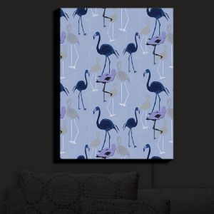 Nightlight Sconce Canvas Light | Yasmin Dadabhoy - Flamingo 4 Dark Blue | bird nature repetition pattern
