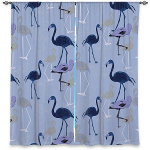 Decorative Window Treatments | Yasmin Dadabhoy - Flamingo 4 Dark Blue | bird nature repetition pattern