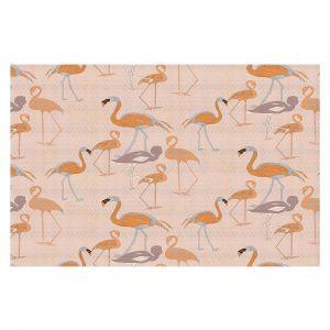 Decorative Floor Covering Mats | Yasmin Dadabhoy - Flamingo 4 Orange | bird nature repetition pattern