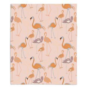 Decorative Fleece Throw Blankets | Yasmin Dadabhoy - Flamingo 4 Orange | bird nature repetition pattern