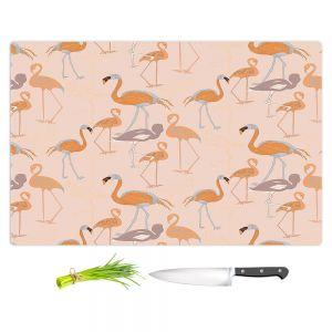 Artistic Kitchen Bar Cutting Boards   Yasmin Dadabhoy - Flamingo 4 Orange   bird nature repetition pattern