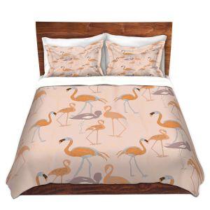 Artistic Duvet Covers and Shams Bedding | Yasmin Dadabhoy - Flamingo 4 Orange | bird nature repetition pattern