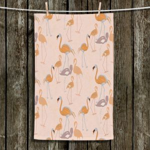 Unique Bathroom Towels | Yasmin Dadabhoy - Flamingo 4 Orange | bird nature repetition pattern