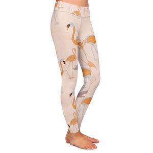 Casual Comfortable Leggings | Yasmin Dadabhoy - Flamingo 4 Orange | bird nature repetition pattern