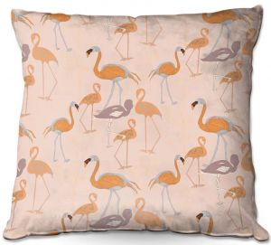 Decorative Outdoor Patio Pillow Cushion   Yasmin Dadabhoy - Flamingo 4 Orange   bird nature repetition pattern