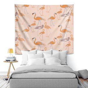 Artistic Wall Tapestry | Yasmin Dadabhoy - Flamingo 4 Orange | bird nature repetition pattern