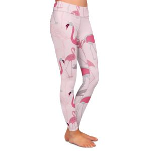 Casual Comfortable Leggings | Yasmin Dadabhoy - Flamingo 4 Pink | bird nature repetition pattern
