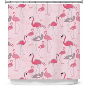 Premium Shower Curtains | Yasmin Dadabhoy - Flamingo 4 Pink | bird nature repetition pattern