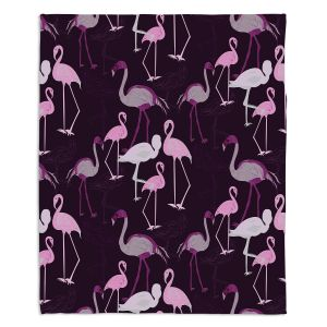 Artistic Sherpa Pile Blankets | Yasmin Dadabhoy - Flamingo 4 Plum | bird nature repetition pattern