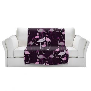Artistic Sherpa Pile Blankets | Yasmin Dadabhoy - Flamingo 4 Plum | bird nature repetition pattern