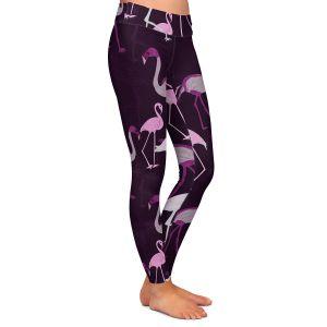 Casual Comfortable Leggings | Yasmin Dadabhoy - Flamingo 4 Plum | bird nature repetition pattern