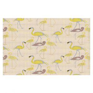 Decorative Floor Covering Mats | Yasmin Dadabhoy - Flamingo 4 Yellow | bird nature repetition pattern