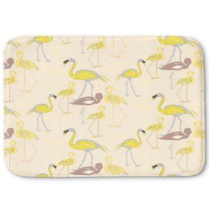 Decorative Bathroom Mats | Yasmin Dadabhoy - Flamingo 4 Yellow | bird nature repetition pattern