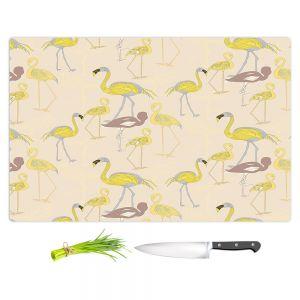Artistic Kitchen Bar Cutting Boards   Yasmin Dadabhoy - Flamingo 4 Yellow   bird nature repetition pattern