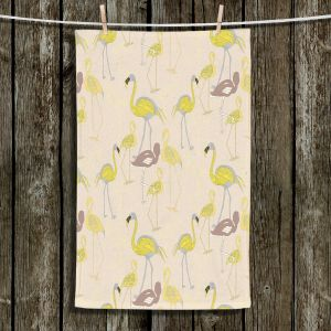 Unique Hanging Tea Towels | Yasmin Dadabhoy - Flamingo 4 Yellow | bird nature repetition pattern