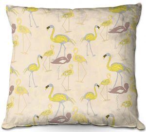 Throw Pillows Decorative Artistic | Yasmin Dadabhoy - Flamingo 4 Yellow | bird nature repetition pattern