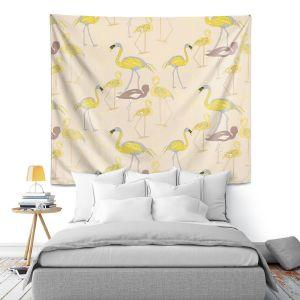 Artistic Wall Tapestry | Yasmin Dadabhoy - Flamingo 4 Yellow | bird nature repetition pattern