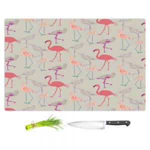Artistic Kitchen Bar Cutting Boards   Yasmin Dadabhoy - Flamingo 5 Peach Pink   bird nature repetition pattern