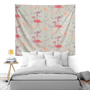 Artistic Wall Tapestry | Yasmin Dadabhoy - Flamingo 5 Peach Pink | bird nature repetition pattern