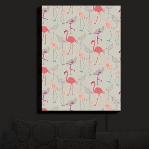 Nightlight Sconce Canvas Light | Yasmin Dadabhoy - Flamingo 5 Peach Pink | bird nature repetition pattern