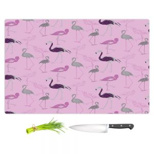 Artistic Kitchen Bar Cutting Boards | Yasmin Dadabhoy - Flamingo 5 Pink | bird nature repetition pattern
