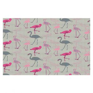 Decorative Floor Covering Mats | Yasmin Dadabhoy - Flamingo 5 Pink Grey | bird nature repetition pattern