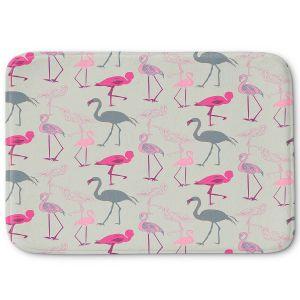 Decorative Bathroom Mats | Yasmin Dadabhoy - Flamingo 5 Pink Grey | bird nature repetition pattern