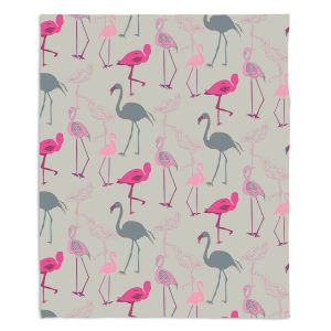 Decorative Fleece Throw Blankets | Yasmin Dadabhoy - Flamingo 5 Pink Grey | bird nature repetition pattern