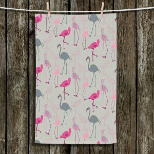 Unique Bathroom Towels | Yasmin Dadabhoy - Flamingo 5 Pink Grey | bird nature repetition pattern