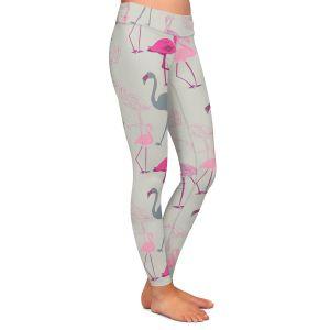 Casual Comfortable Leggings | Yasmin Dadabhoy - Flamingo 5 Pink Grey | bird nature repetition pattern