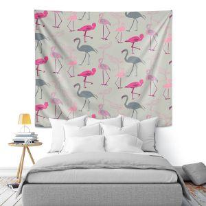 Artistic Wall Tapestry | Yasmin Dadabhoy - Flamingo 5 Pink Grey | bird nature repetition pattern