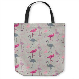 Unique Shoulder Bag Tote Bags   Yasmin Dadabhoy - Flamingo 5 Pink Grey   bird nature repetition pattern