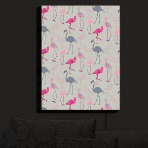 Nightlight Sconce Canvas Light | Yasmin Dadabhoy - Flamingo 5 Pink Grey | bird nature repetition pattern