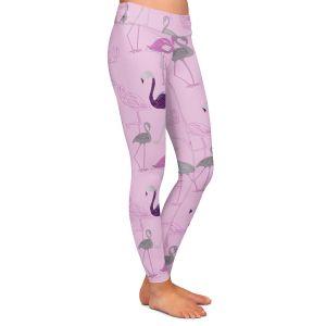 Casual Comfortable Leggings | Yasmin Dadabhoy - Flamingo 5 Pink | bird nature repetition pattern