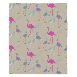 Decorative Fleece Throw Blankets | Yasmin Dadabhoy - Flamingo 5 Pink Purple | bird nature repetition pattern