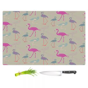Artistic Kitchen Bar Cutting Boards   Yasmin Dadabhoy - Flamingo 5 Pink Purple   bird nature repetition pattern