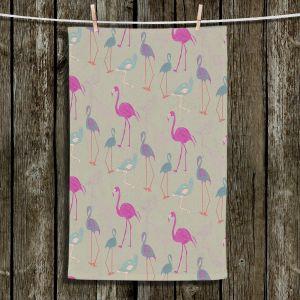 Unique Bathroom Towels | Yasmin Dadabhoy - Flamingo 5 Pink Purple | bird nature repetition pattern