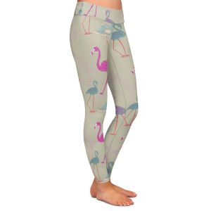Casual Comfortable Leggings | Yasmin Dadabhoy - Flamingo 5 Pink Purple | bird nature repetition pattern