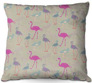 Throw Pillows Decorative Artistic | Yasmin Dadabhoy - Flamingo 5 Pink Purple | bird nature repetition pattern