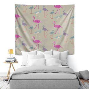 Artistic Wall Tapestry | Yasmin Dadabhoy - Flamingo 5 Pink Purple | bird nature repetition pattern