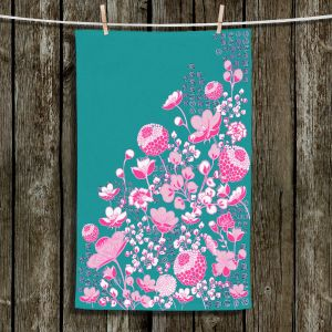 Unique Hanging Tea Towels | Yasmin Dadabhoy - Floral Bed 1 | flower nature pattern