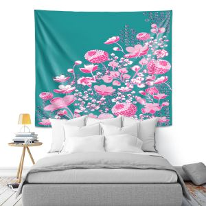 Artistic Wall Tapestry | Yasmin Dadabhoy - Floral Bed 1 | flower nature pattern
